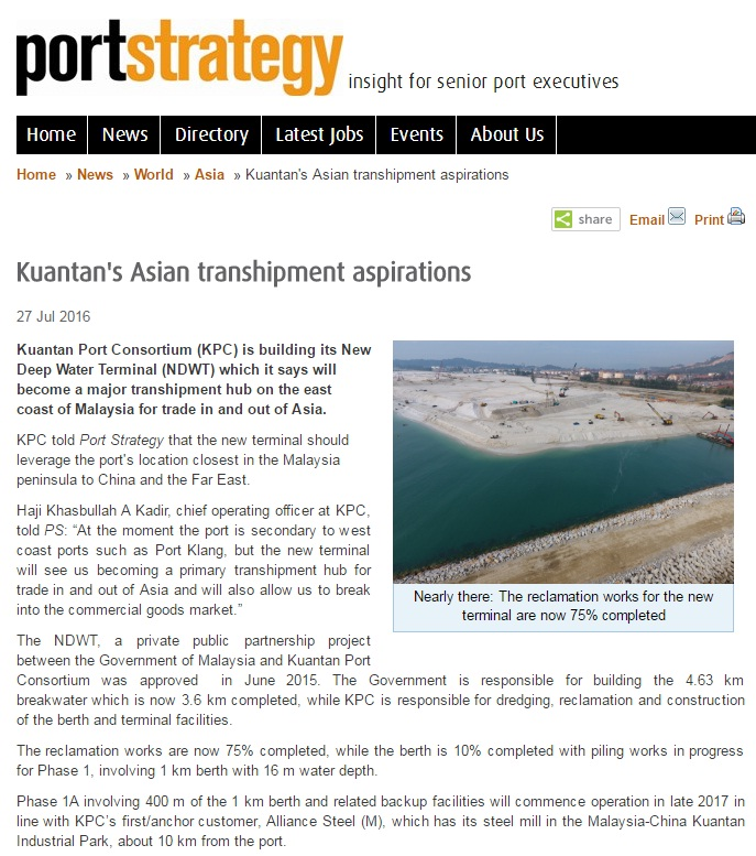 PORT STRATEGY ; KUANTAN PORT EXPANSION ; NDWT ; MALAYSIA CHINA KUANTAN INDUSTRIAL PARK ; IJM CORPORATION