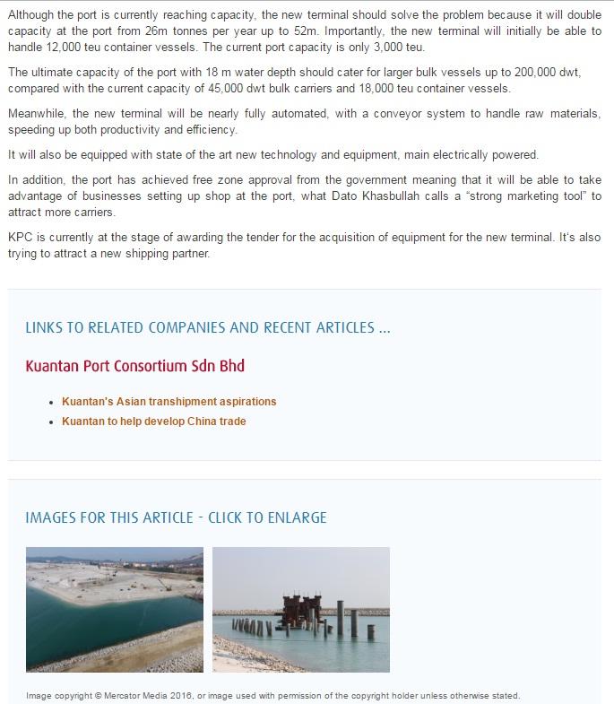 PORT STRATEGY ; KUANTAN PORT EXPANSION ; NDWT ; MALAYSIA CHINA KUANTAN INDUSTRIAL PARK