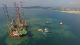 The layup of offshore drilling rigs at NDWT breakwater